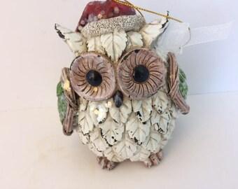 Santa owl ornament  owl santa vintage owl christmas owl