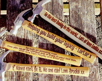 Personalised Hammer, engraved Hammer, Hammer Gift, Valentine's Gift, gift for boyfriend, Mans Gift, gift for Men,  unique fathers day gift