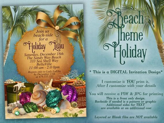 beach christmas christmas party invitations tropical holiday