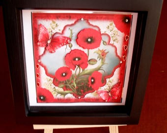 poppies 3D box frame,Remembrance ,home and office,