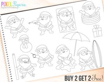 summer santa beach tropical pool - Vacation Santas Digital Stamps