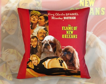 English Toy Spaniel Art Pillow Case Throw Pillow - The Flame of New Orleans Movie Poster  Perfect DOG LOVER Gift for Her Gift for Him