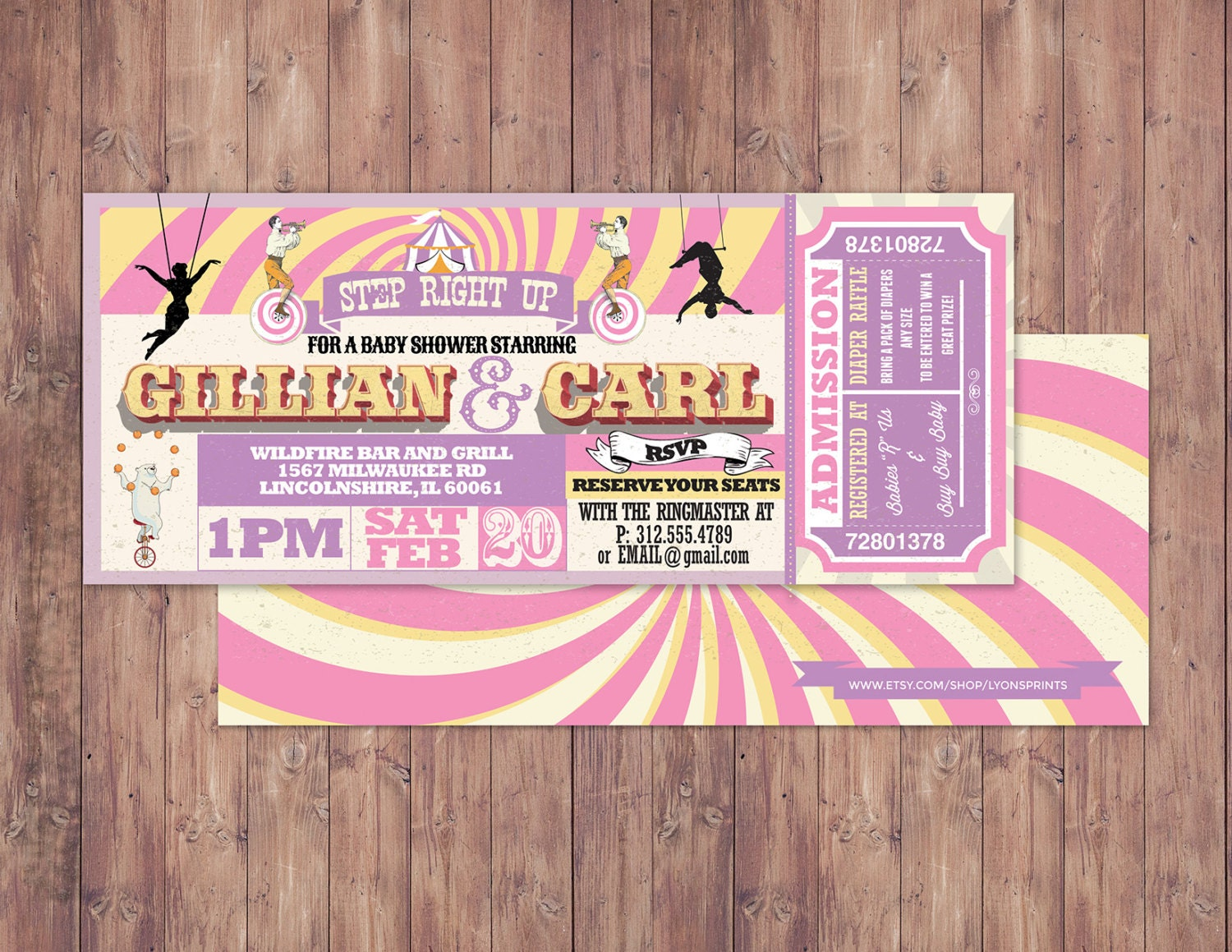 CIRCUS Baby Shower Invitation- Carnival baby shower invitation-Coed ...