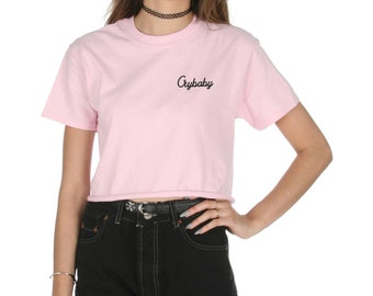 Crybaby Pocket Crop T-shirt Top Shirt Tee Cropped Fashion Funny Grunge Cry baby