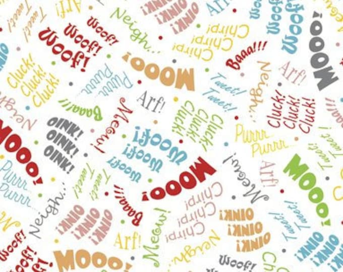 Children's Fabric, Aniimal Farm Cotton Fabric Farm Words by Victoria Hutto for Quilting Treasures 44 inches wide