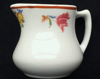 Shenango Restaurant Hotel Diner China 3 oz. Floral Creamer in Excellent Seemingly-Unused Condition