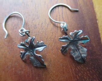 Sterling Silver Brutalist Small Fig Leaf Earrings