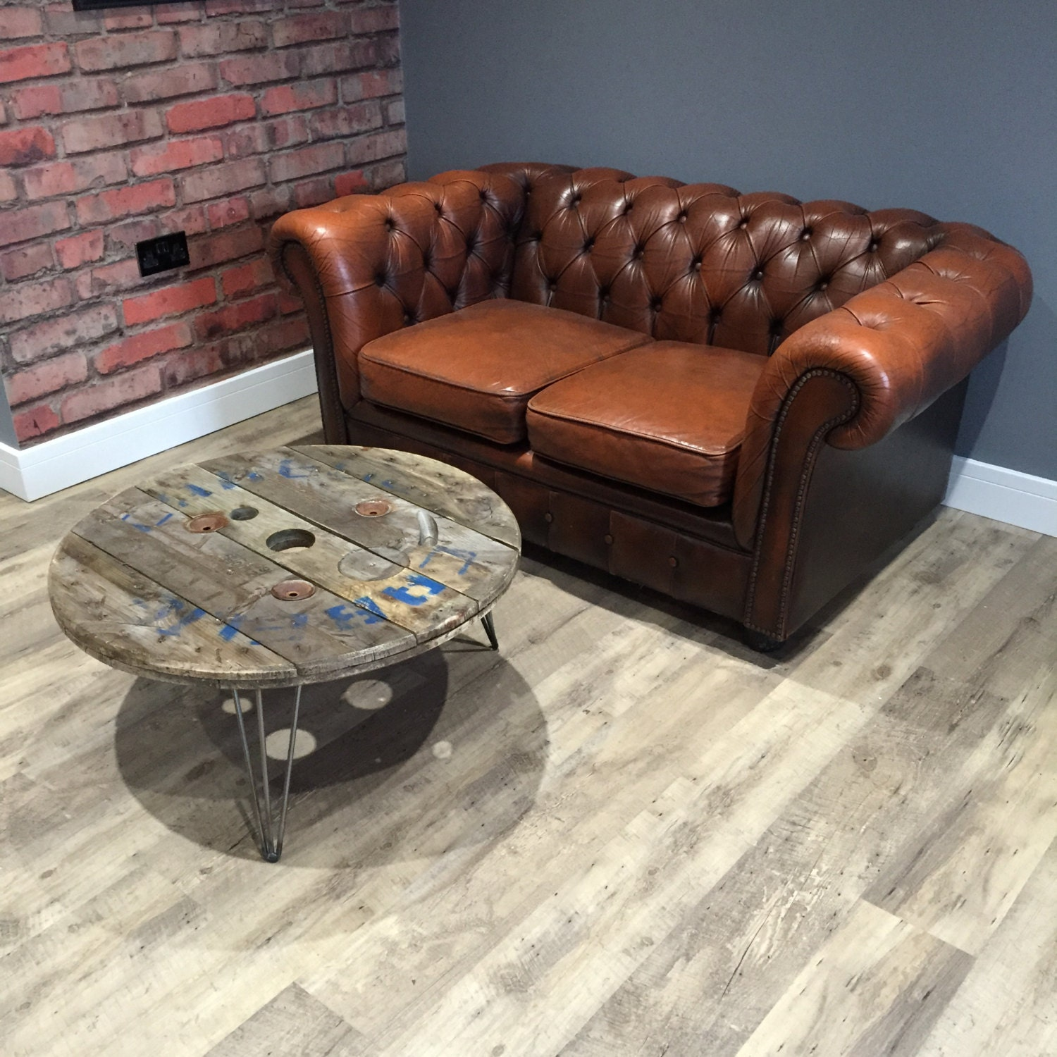 Steel Cable Drum Coffee Table in reclaimed wood with Hairpin