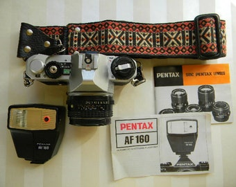 Vintage PENTAX MG with 50mm, Camera, Flash, Instructions
