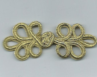 Six pairs gold loop braid Chinese Frogs fasteners closure buttons NEW