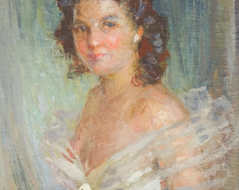 Antique Oil Painting Portrait of Woman in Evening Gown Glamour Picture Russian Artist Signed Nikolai Becker