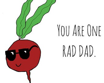 Radish Pun Card - Puns - Play On Words - Stay Rad - Father's Day