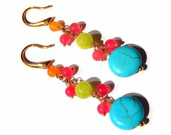 Long Neon Earrings, Colorful Stone Jewelry, Blue Howlite Drops, Candy Colored, Hot Pink, Orange, Lime, Gold