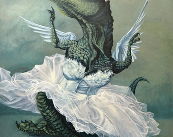 "Large ( ~15x23"") Limited Edition Archival Giclee Print of ""White Swan"" - T-Rex Ballerina"