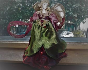 """13"""" Angel Figure Large Tree Topper Standing Display Doll Christmas Decoration for Tree Old World Christmas Burgundy Green Angel"""