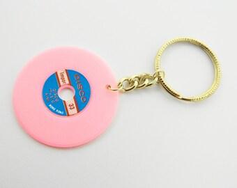 Vintage Vinyl Keychain in Light Pink