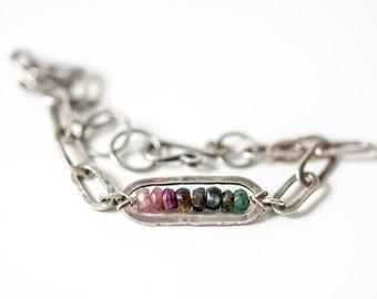 Raw sterling silver heavy bracelet, gemstone bar bracelet, tourmaline bracelet, oxidized silver, handmade heavy silver chain