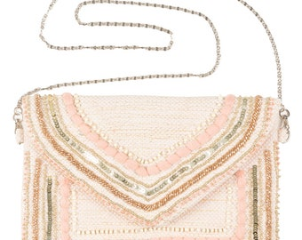 Peach Parfait embellished handbag