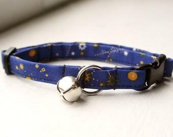 Galaxy Cat Collar, Breakaway Cat Collar, Handmade Cat Collar, Celestial Cat Accessories, Cute Pet Accessories, Fabric Cat Collar, Navy Blue