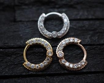 Beautiful CZ diamond cut Daith earring/cartilage/helix piercing