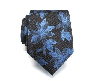 Mens Ties Black Blue Floral Mens Wedding Neckties. Silk Necktie with Matching Pocket Square Option