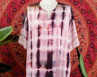 70's Pink Purple Tie Dye Soft Cotton Kaftan Blouse Hippie Top Festival Top Medium Large