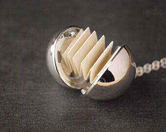 Silver Secret Message Necklace,  Ball Locket Pendant