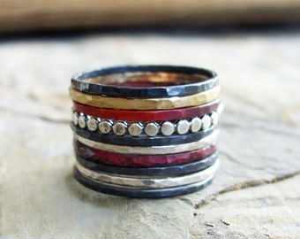 Blackened Silver and Dots Edition - Set of 10 Mixed Metals Hammered Stacking Rings in Dark and Bright Silver, Brass, & Fire-Stained Copper.