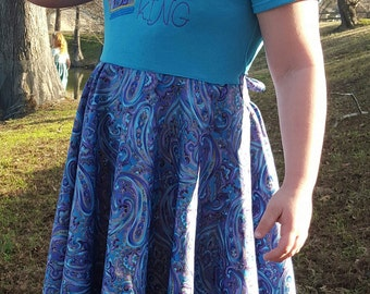 Girls Tshirt Dress, Circle Skirt, Daughter of the king, Tie Back, Purple, blue, gold, paisley fabric, size XS-L (3t-9)