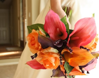 Calla Lily Bouquet: Real Touch (Pink, Orange, Purple) Summer Wedding, Spring Wedding, Fall Wedding