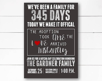 Gotcha Day Invitation, Adoption Party Invitation, Adoption Baby Shower,  Baby Shower, Adoption, Adoption Celebration,  Printable or Printed