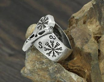 Aegishjalmur ring, Skull Crow, Raven, pagan jewlery, Viking symbol, Vegvisir, rune