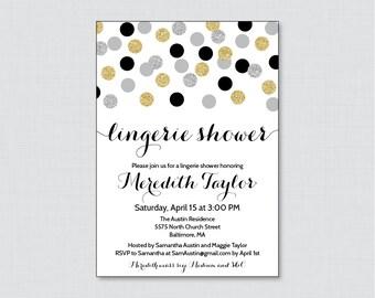 Black and Gold Lingerie Shower Invitation Printable or Printed - Black, Silver, and Gold Glitter Dots Lingerie Invites - Bachelorette 0001-K