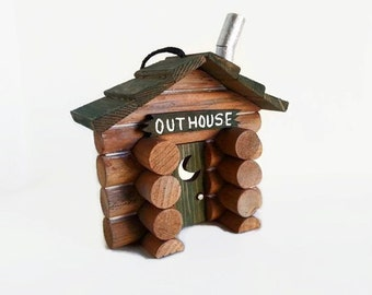 Outhouse Ornament - Outhouse decor, rustic Christmas ornament, rustic cabin outhouse, hunter gift, gift for campers, privy, gift under 30