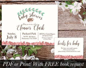 Hedgehog Woodland Baby Shower Invitation