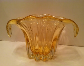 Heavy Chunky Cased Clear Over Honey Glass Vase