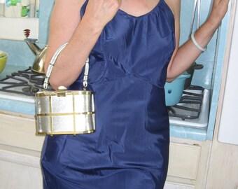 50s Vintage Midnight Blue Full Slip - SNIP- IT Lingerie - Dark Blue Taffeta - Bust 38