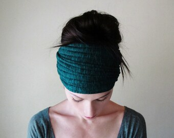 DARK TEAL Ear Warmer, Ribbed Knit Head Wrap, Extra Wide Head Scarf, Teal Blue Headband, Teal Headband, Knit Ear Warmer, Gifts for her