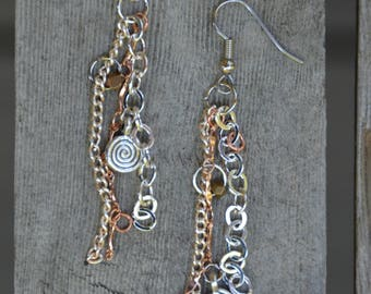 Mixed metal handmade earrings
