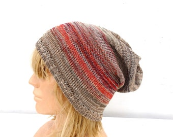 Hat, knit hat, knitted cotton slouchy, knitting colorful summer beanie, autumn cap, women man slouchy, beige red hat, head gear, baggy tam
