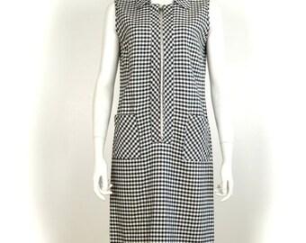 ON SALE 1960s GINGHAM Dress: 60s gingham dress / 1960s gingham / gingham dress / 60s day dress / vintage day dress / check / scooter dress /