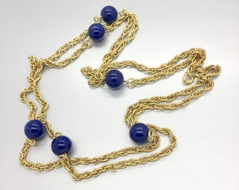 Blue Marbled and Gold Necklace Vintage Jewelry Sarah Coventry Fashion Jewelry