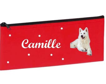 Red white dog personalized with name package