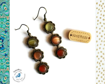 Pierced ears Cabochons woman made hand jewelry Baroque Bronze Orange yellow jewelry flower gift mother of mothers dangle Christmas gift