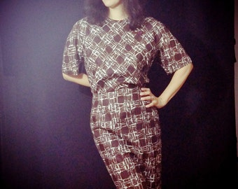 Vintage 50s 60s  Dress/   Jack Mann/ Polished Cotton Dress/ Bust 40-42 / Day Dress