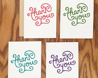 Thank You Card Set - Hand Lettered - Set of 8 A2 Cards
