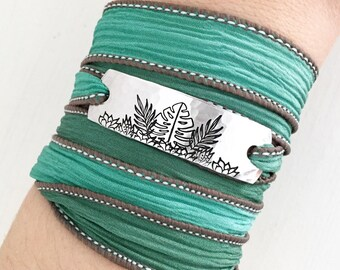 Foliage Jewelry, Monstera Leaf Jewelry, Plant Lady Gift, Plant Jewelry, Palm Leaf Jewelry, Wrap Bracelet, Nature Jewelry
