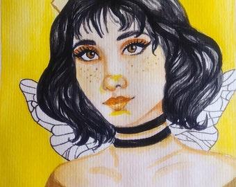 Queen of Bees - Original Watercolor Painting