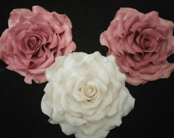 "3 Edible Ex large ROSES 5"" gum paste and leaves/Any color/ Fondant / Cake decoration / cuocake topper sugar flower / wedding cake decoration"