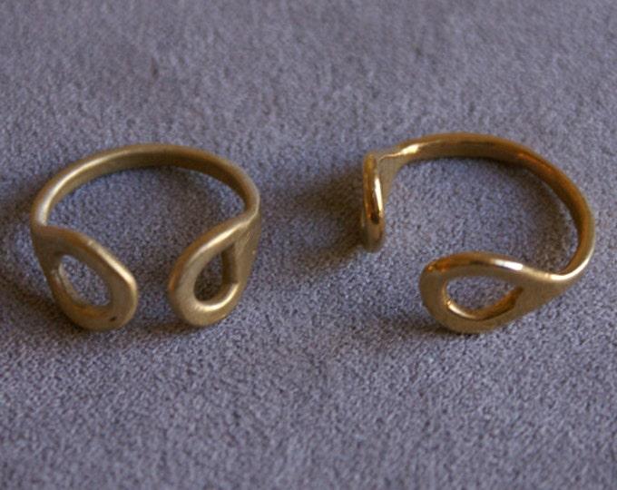 Snake Eyes Ring in Brass